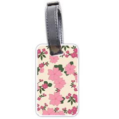 Vintage Floral Wallpaper Background In Shades Of Pink Luggage Tags (two Sides) by Simbadda