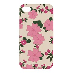Vintage Floral Wallpaper Background In Shades Of Pink Apple Iphone 4/4s Premium Hardshell Case by Simbadda