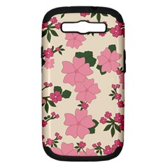 Vintage Floral Wallpaper Background In Shades Of Pink Samsung Galaxy S Iii Hardshell Case (pc+silicone) by Simbadda