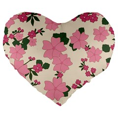 Vintage Floral Wallpaper Background In Shades Of Pink Large 19  Premium Heart Shape Cushions