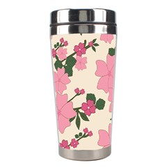 Vintage Floral Wallpaper Background In Shades Of Pink Stainless Steel Travel Tumblers by Simbadda