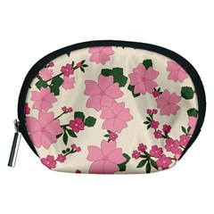 Vintage Floral Wallpaper Background In Shades Of Pink Accessory Pouches (medium)  by Simbadda