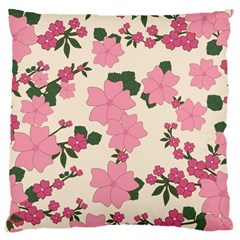 Vintage Floral Wallpaper Background In Shades Of Pink Large Flano Cushion Case (one Side) by Simbadda