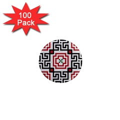 Vintage Style Seamless Black White And Red Tile Pattern Wallpaper Background 1  Mini Magnets (100 Pack)  by Simbadda