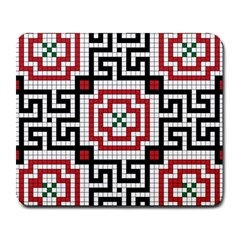 Vintage Style Seamless Black White And Red Tile Pattern Wallpaper Background Large Mousepads by Simbadda