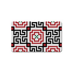 Vintage Style Seamless Black White And Red Tile Pattern Wallpaper Background Magnet (name Card) by Simbadda