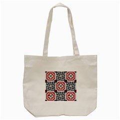 Vintage Style Seamless Black White And Red Tile Pattern Wallpaper Background Tote Bag (cream) by Simbadda