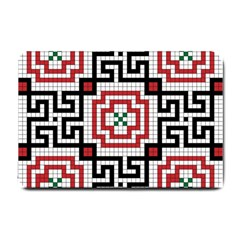 Vintage Style Seamless Black White And Red Tile Pattern Wallpaper Background Small Doormat  by Simbadda