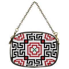 Vintage Style Seamless Black White And Red Tile Pattern Wallpaper Background Chain Purses (two Sides)