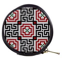 Vintage Style Seamless Black White And Red Tile Pattern Wallpaper Background Mini Makeup Bags by Simbadda