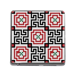 Vintage Style Seamless Black White And Red Tile Pattern Wallpaper Background Memory Card Reader (square) by Simbadda