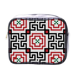 Vintage Style Seamless Black White And Red Tile Pattern Wallpaper Background Mini Toiletries Bags