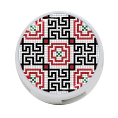 Vintage Style Seamless Black White And Red Tile Pattern Wallpaper Background 4 Port Usb Hub (one Side) by Simbadda