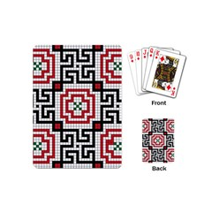 Vintage Style Seamless Black White And Red Tile Pattern Wallpaper Background Playing Cards (mini)  by Simbadda