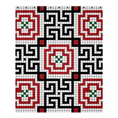 Vintage Style Seamless Black White And Red Tile Pattern Wallpaper Background Shower Curtain 60  X 72  (medium)  by Simbadda