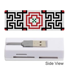 Vintage Style Seamless Black White And Red Tile Pattern Wallpaper Background Memory Card Reader (stick)  by Simbadda