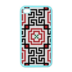 Vintage Style Seamless Black White And Red Tile Pattern Wallpaper Background Apple Iphone 4 Case (color) by Simbadda