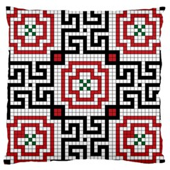 Vintage Style Seamless Black White And Red Tile Pattern Wallpaper Background Large Cushion Case (one Side) by Simbadda