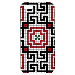 Vintage Style Seamless Black White And Red Tile Pattern Wallpaper Background Apple Iphone 5 Hardshell Case by Simbadda