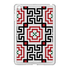 Vintage Style Seamless Black White And Red Tile Pattern Wallpaper Background Apple Ipad Mini Case (white) by Simbadda