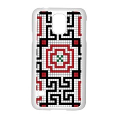 Vintage Style Seamless Black White And Red Tile Pattern Wallpaper Background Samsung Galaxy S5 Case (white) by Simbadda