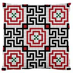 Vintage Style Seamless Black White And Red Tile Pattern Wallpaper Background Large Flano Cushion Case (two Sides) by Simbadda