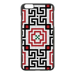 Vintage Style Seamless Black White And Red Tile Pattern Wallpaper Background Apple Iphone 6 Plus/6s Plus Black Enamel Case