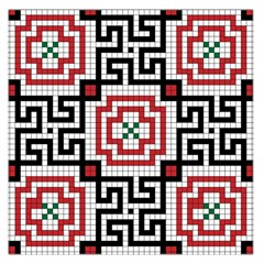 Vintage Style Seamless Black White And Red Tile Pattern Wallpaper Background Large Satin Scarf (square) by Simbadda