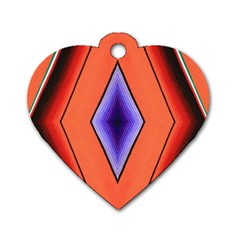 Diamond Shape Lines & Pattern Dog Tag Heart (one Side) by Simbadda