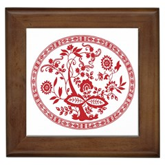 Red Vintage Floral Flowers Decorative Pattern Framed Tiles