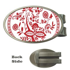 Red Vintage Floral Flowers Decorative Pattern Money Clips (oval)  by Simbadda