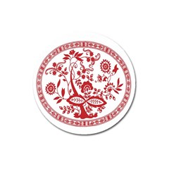 Red Vintage Floral Flowers Decorative Pattern Magnet 3  (round) by Simbadda