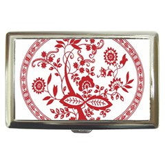 Red Vintage Floral Flowers Decorative Pattern Cigarette Money Cases