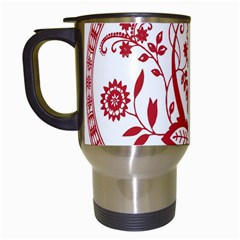 Red Vintage Floral Flowers Decorative Pattern Travel Mugs (white) by Simbadda