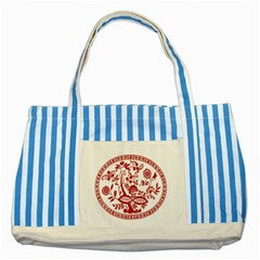Red Vintage Floral Flowers Decorative Pattern Striped Blue Tote Bag by Simbadda