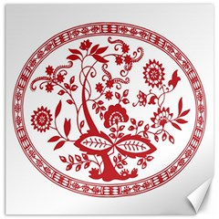 Red Vintage Floral Flowers Decorative Pattern Canvas 20  X 20   by Simbadda