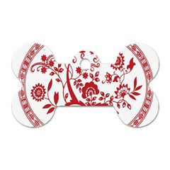 Red Vintage Floral Flowers Decorative Pattern Dog Tag Bone (one Side) by Simbadda