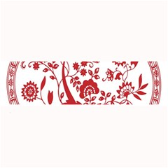 Red Vintage Floral Flowers Decorative Pattern Large Bar Mats by Simbadda