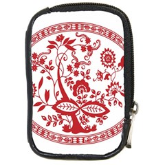 Red Vintage Floral Flowers Decorative Pattern Compact Camera Cases by Simbadda
