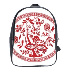Red Vintage Floral Flowers Decorative Pattern School Bags(large)  by Simbadda