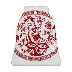 Red Vintage Floral Flowers Decorative Pattern Bell Ornament (two Sides) by Simbadda