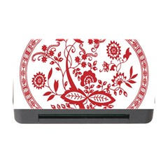 Red Vintage Floral Flowers Decorative Pattern Memory Card Reader With Cf by Simbadda