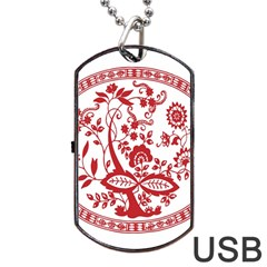 Red Vintage Floral Flowers Decorative Pattern Dog Tag Usb Flash (two Sides) by Simbadda