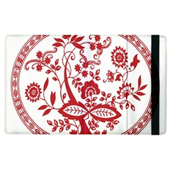 Red Vintage Floral Flowers Decorative Pattern Apple Ipad 2 Flip Case by Simbadda