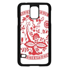 Red Vintage Floral Flowers Decorative Pattern Samsung Galaxy S5 Case (black) by Simbadda