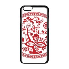 Red Vintage Floral Flowers Decorative Pattern Apple Iphone 6/6s Black Enamel Case by Simbadda