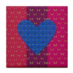 Butterfly Heart Pattern Tile Coasters by Simbadda