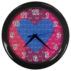 Butterfly Heart Pattern Wall Clocks (black) by Simbadda