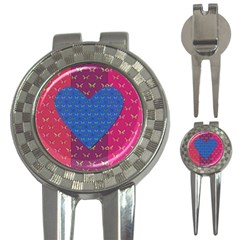 Butterfly Heart Pattern 3 In 1 Golf Divots by Simbadda