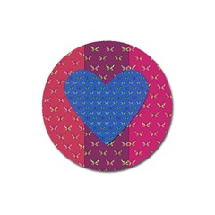 Butterfly Heart Pattern Magnet 3  (round) by Simbadda